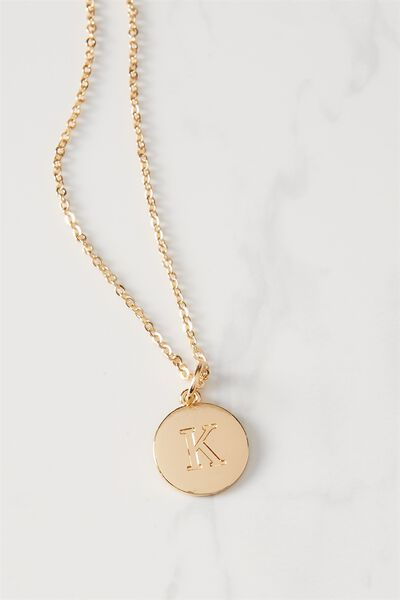 Letter Flat Pendant Necklace, GOLD - K