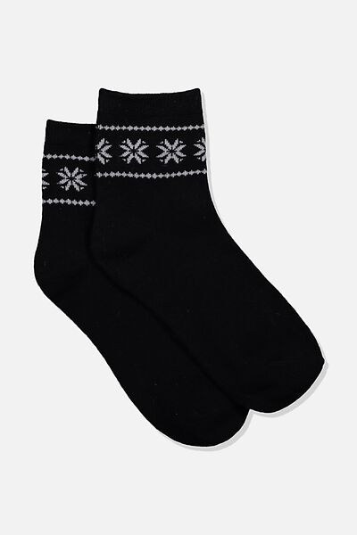 Fancy Quarter Crew Sock, BLACK/GREY
