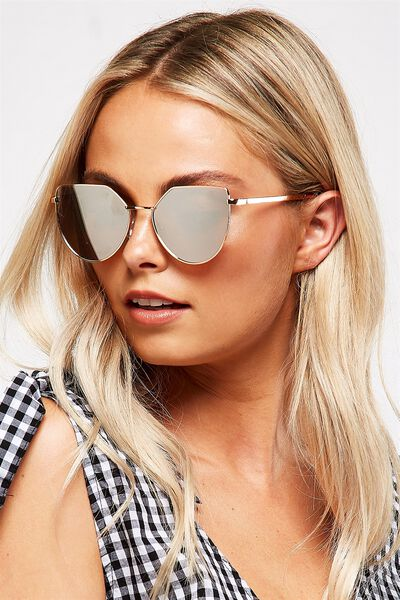 Sophia Angular Metal Sunglasses, ROSE GOLD