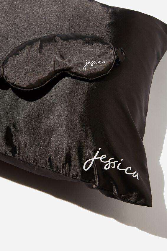 Personalized Satin Eyemask & Pillow Slip Set, BLACK