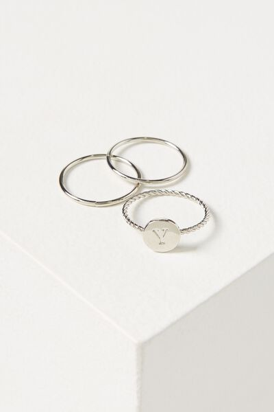 Letter Pendant Ring, SILVER - Y