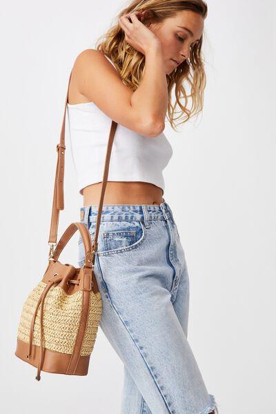 Bella Bucket Bag, TAN/WOVEN