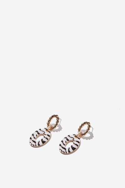 Margot Animal Earring, ZEBRA/GOLD