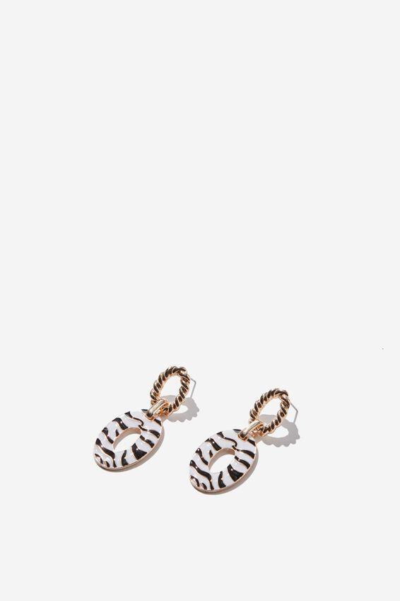 Margot Animal Earring, ZEBRA/GOLD
