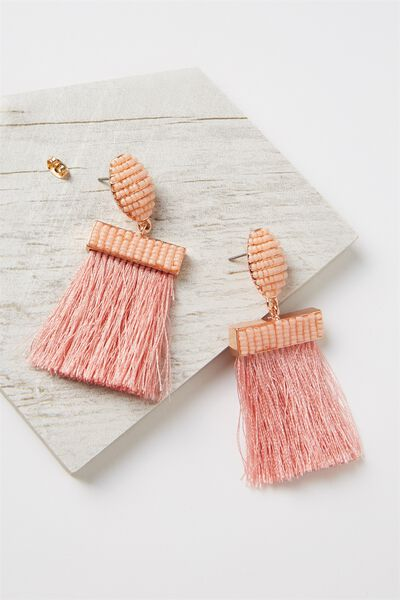 Beaded Curtain Earring, PINK/ROSE GOLD