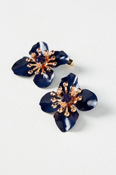 Flower Statement Earring, NAVY/ROSE GOLD