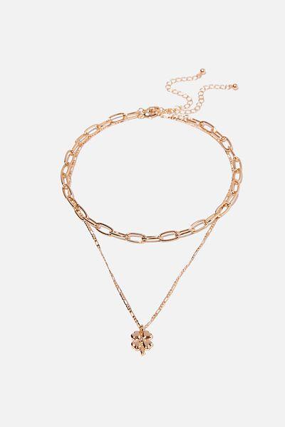 Keepsake 2 Pack Necklace Set, CLOVER