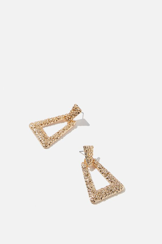 Molten Treasures Triangle Earrings, GOLD