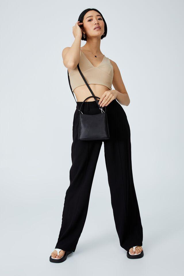 Elke Cross Body Bag, BLACK SATIN