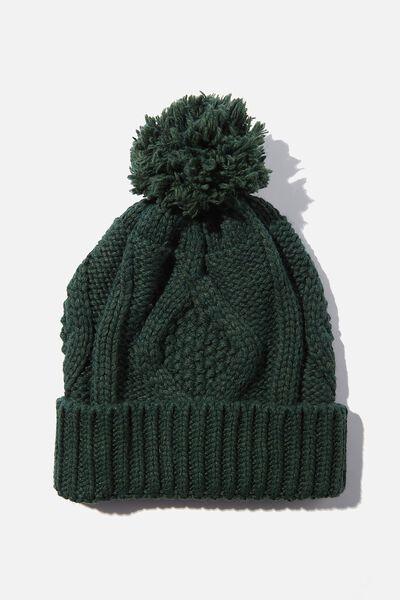 Heritage Knit Pom Pom Beanie, WILLOW GREEN