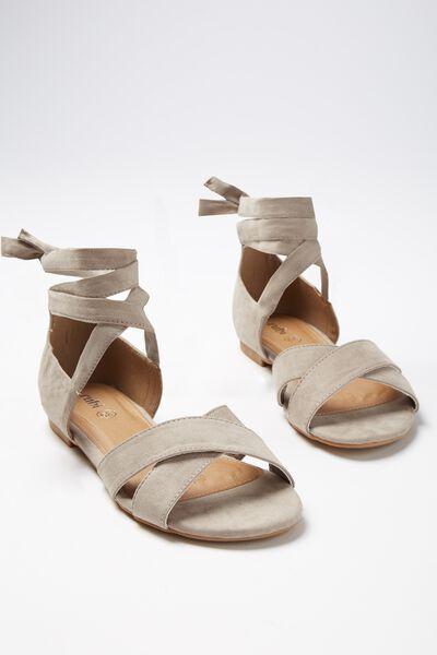 Rach Ankle Wrap Sandal, TAUPE