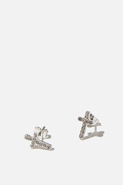 Premium Stud Earrings, DIAMANTE CROSS SILVER PLATED