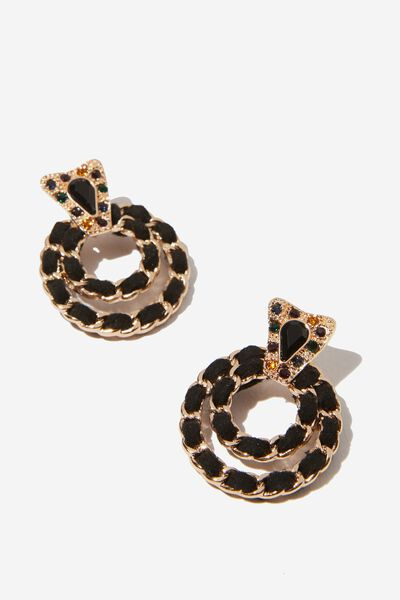 Eleanor Romance Earring, BLACK