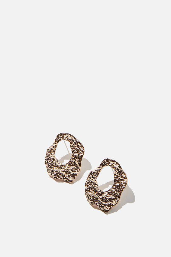 Molten Treasures Disc Earrings, GOLD