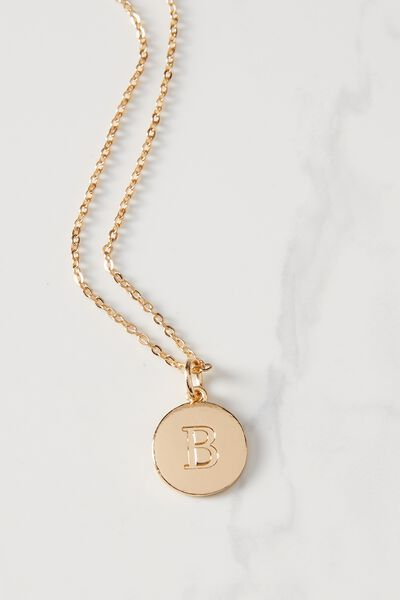Letter Flat Pendant Necklace, GOLD - B