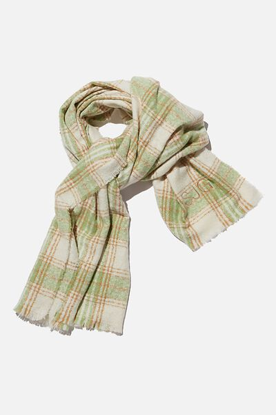 Personalised Brady Blanket Scarf, PISTACHIO GREEN MOLLY CHECK
