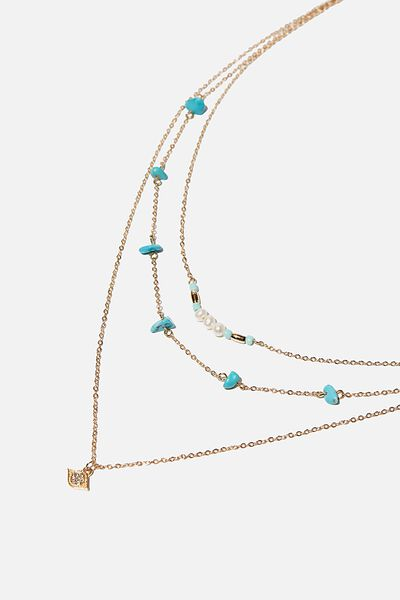 Summer Charm Trinkets Necklace, GOLD