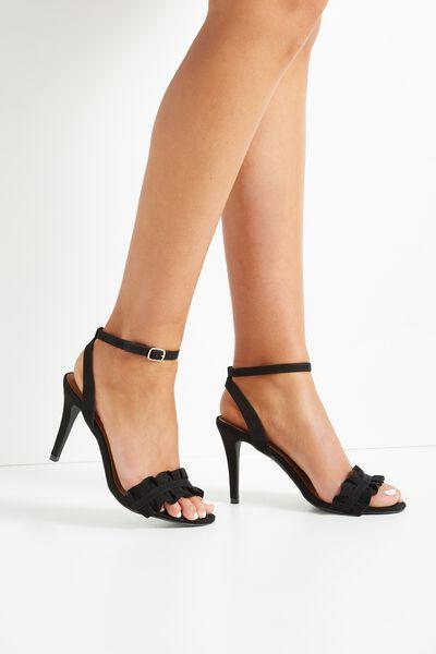 Pina Colada Stiletto Frill Heel, BLACK
