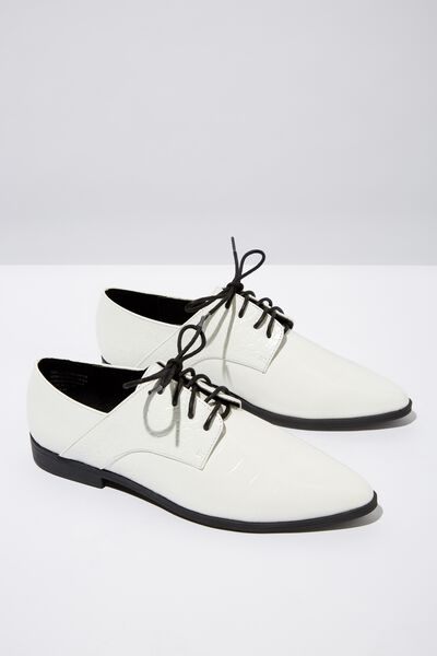 Ambrose Point Toe Brogue, WHITE CROC EMBOSS PU