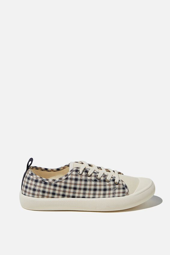 Demi Lace Up Plimsoll, CHECK