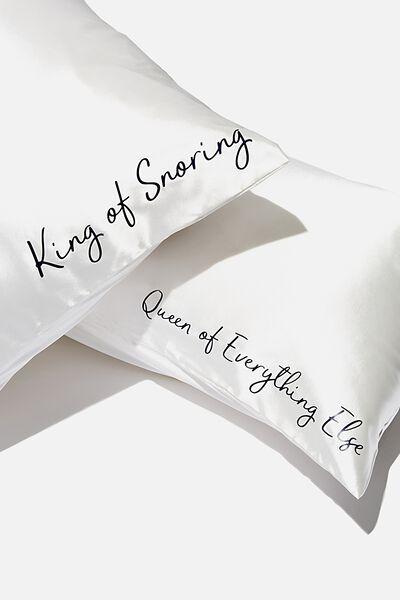 Personalised Satin Pillow Slip Duo, WHITE