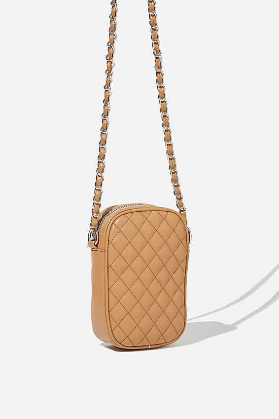 Hailey Mini Quilted Cross Body Bag, TAN