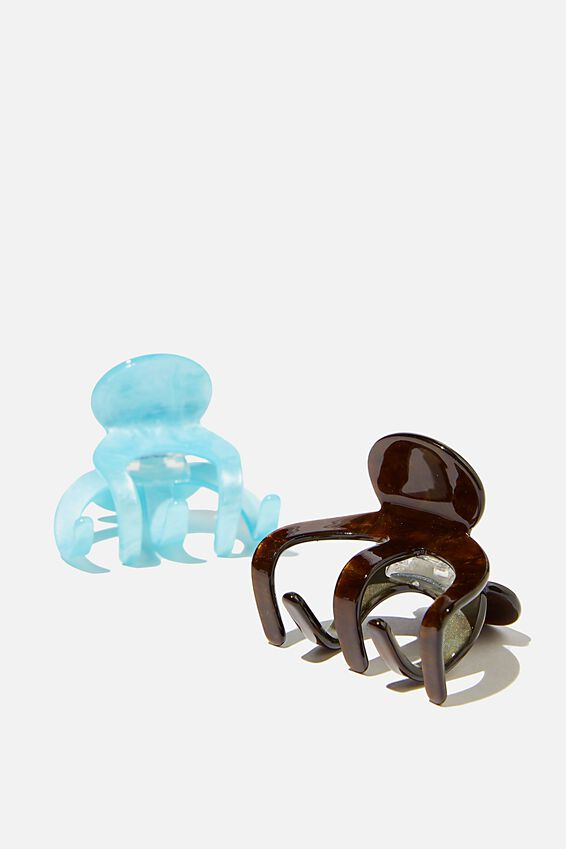 2Pk Messy Bun Claw, DARK AMBER/ BLUE SWIRL