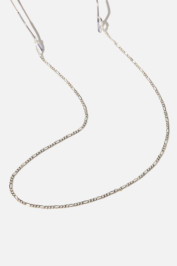 Gigi Glasses Chain, SILVER FIGARO CHAIN