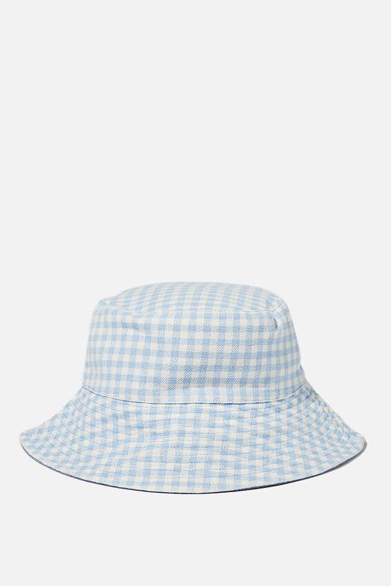 Elly Reversible Wide Brim Bucket Hat, BLUE GINGHAM