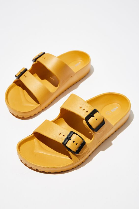 Gilmore Double Buckle Slide, MUSTARD