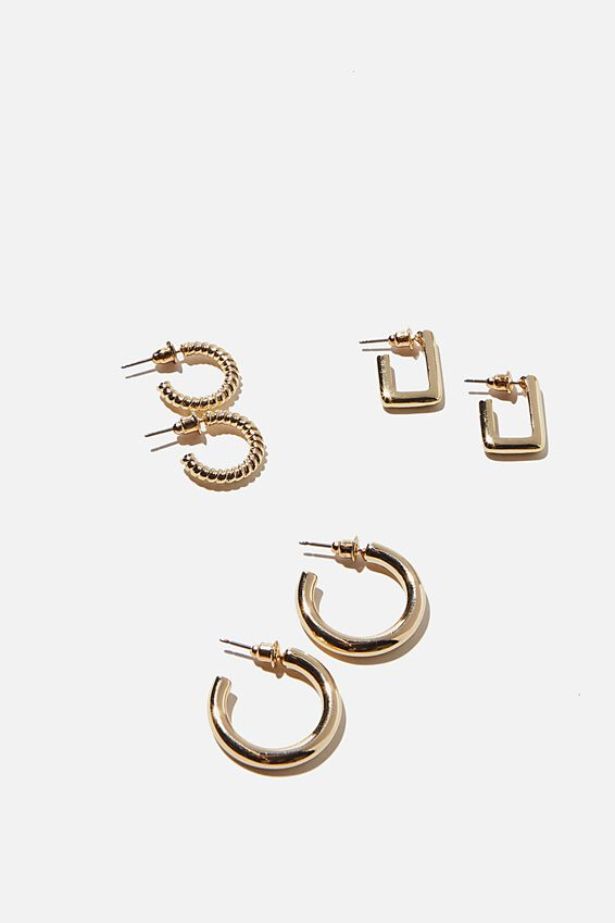 3Pk Luxe Layers Hoops, CLASSIC GOLD