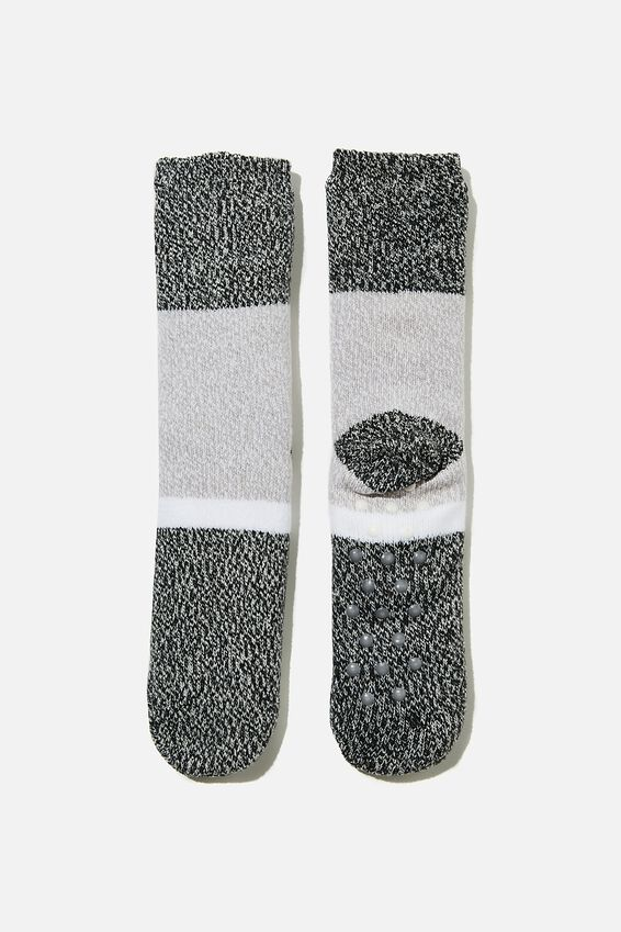 Coc Loungin Round Sock, BLOCK STRIPE BLACK GREY