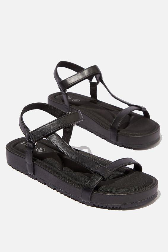 Malmo Flatform Sporty Sandal, BLACK PU