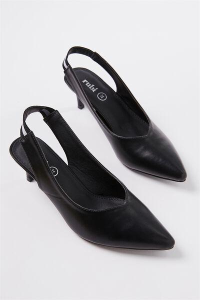 Athens Slingback Kitten Heel, BLACK SMOOTH