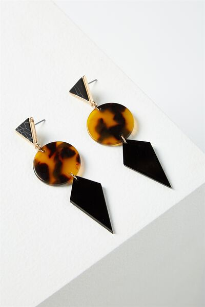 Resin Tri Statement Earring, TORT