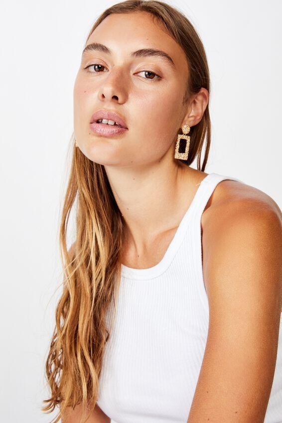 Molten Treasures Rectangle Earring, GOLD