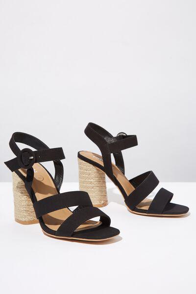 Santal Strappy Espadrille Heel, BLACK CANVAS