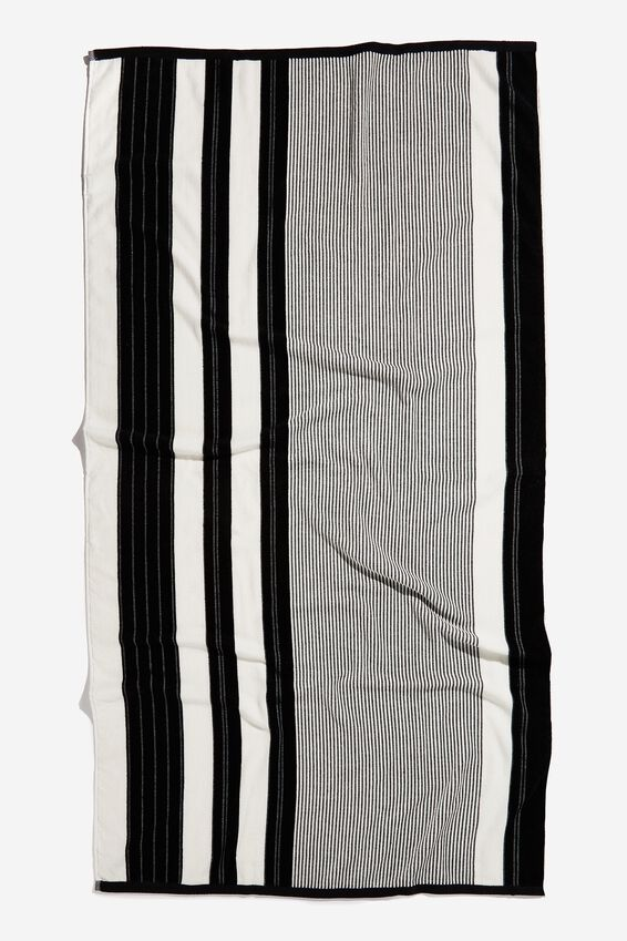 Bondi Rectangle Towel, BLACK POOLSIDE STRIPE