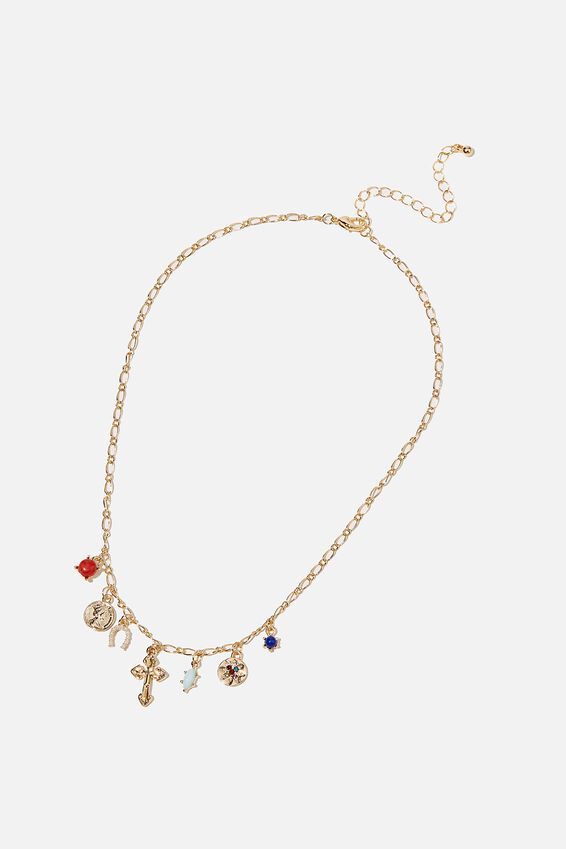 Dominica Charms Necklace, GOLD CROSS