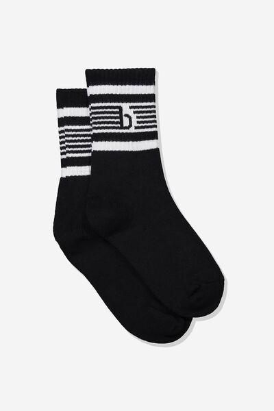 Logo Sports Sock, BLACK