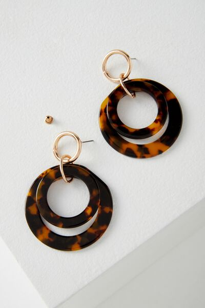 Newport Earring, TORT/GOLD