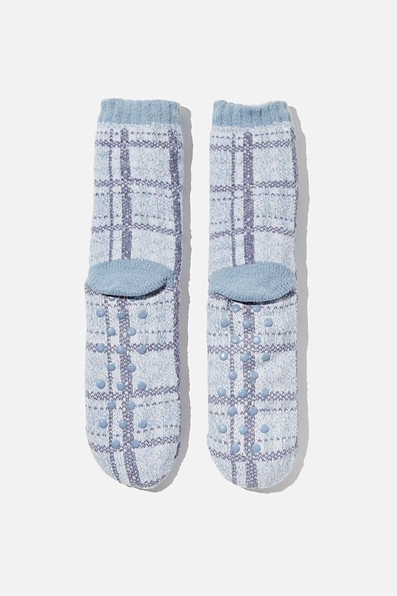 Coc Loungin Round Sock, NORWAY CHECK SUNFADED DENIM