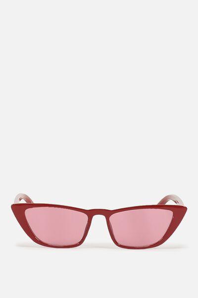 Vienna Short Frame Cat Eye Sunglasses, CRYSTAL RED
