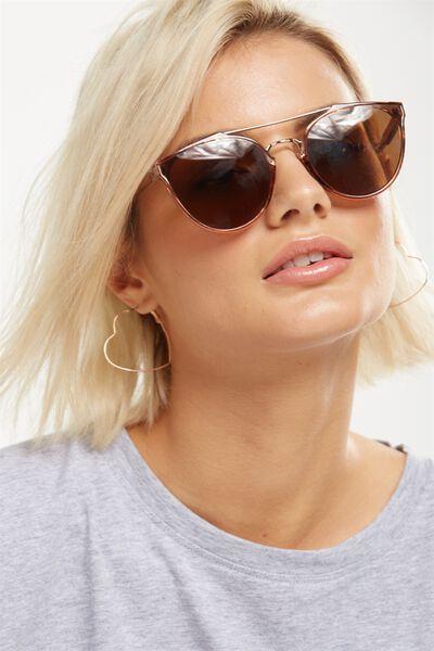 Bianca Top Bar Sunglasses, SANDSTONE/ROSE GOLD