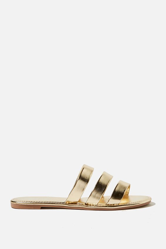 Everyday Grace Triple Strap Slide, GOLD METALLIC/GOLD