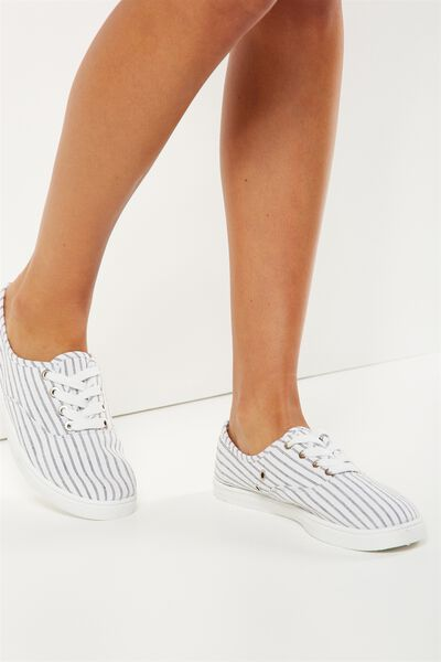 Juno Plimsoll, WHITE/BLACK STRIPE