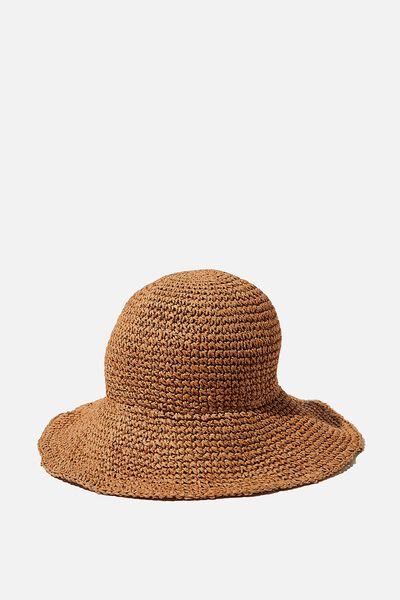Kimberley Crochet Bucket Hat, TAN