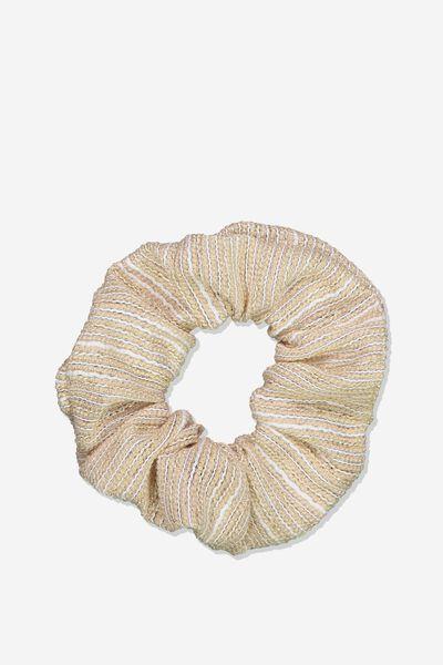 Luxe Scrunchie, NATURAL/ GOLD LUREX STRIPE