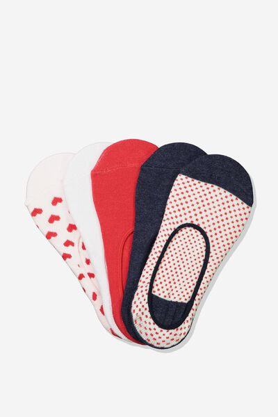 5Pk Low Cut Sock, RED/PINK BRIELLE HEART