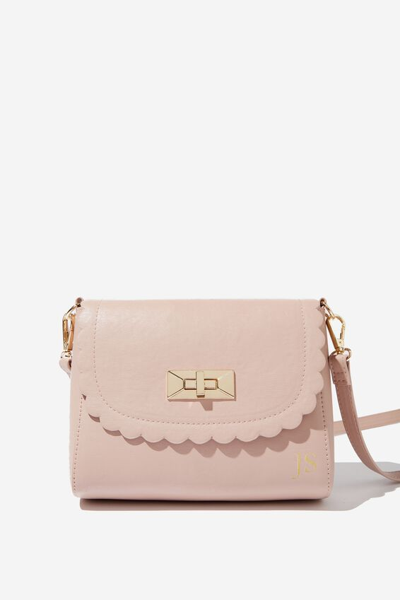 Personalised Scalloped Edge Cross Body Bag, ASH ROSE